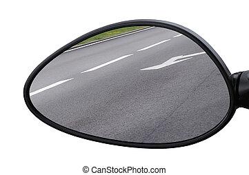 注意, 橫向, 瀝青, 路, 宏, 反映, 箭, 邊, 柏油場地, 線, 反射, 背景, 鏡子, 白色, 左,...