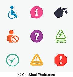 注意, 通知, icons., 資訊, signs.