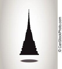 泰國, 寺廟, 黑色半面畫像, 上, the, 白色 背景
