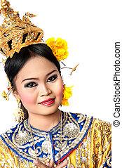 """泰國, 跳舞, 藝術, """"khon"""", 那, 高檔, ......的, 跳舞, 在, siam, 曼谷, thailand., 工作室, 女性, 跳舞, 藝術, 由于, 白色 背景"""