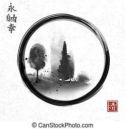 洗いなさい, ∥含んでいる∥, 禅, sumi-e, 日本語, 森林, 象形文字, -, 絵, 永遠, 幸福, ...