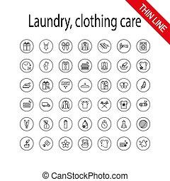 洗いなさい, 普遍的, 洗濯物, set., 心配, アイコン, 衣類