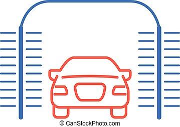 洗いなさい, 自動, -, アイコン, 自動車, car-wash, ブラシ, 円筒状である