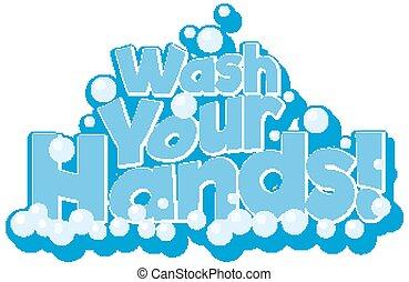 洗いなさい, 青, デザイン, あなたの, 手, 句