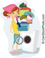 洗う, 主婦
