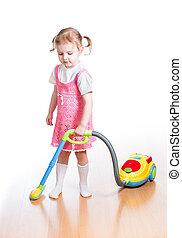 洗剤, おもちゃ, 部屋, 清掃, 真空, 女の子, 遊び, 子供