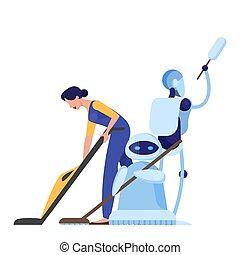 洗剤, 未来派, 女, character., 考え, ロボット