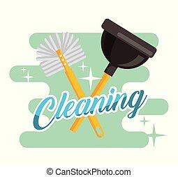 洗手间跳水人, 刷子, 清扫提供