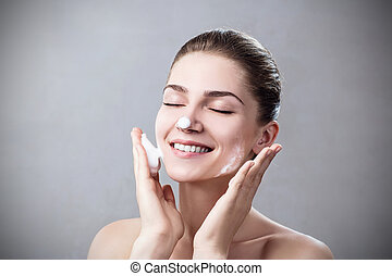 洗浄する, 女, 若い, foam., 皮膚