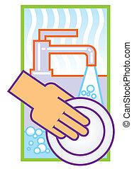 洗浄の 皿, イラスト
