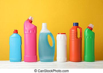 洗浄剤, テキスト, スペース, 背景, 黄色, セット, びん