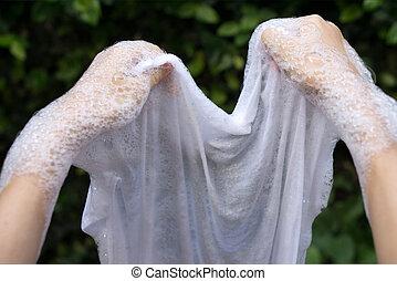 洗浄, しみになる, clothes., 手, 取除きなさい, 白