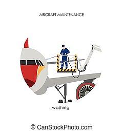 洗浄, 労働者, parked., 航空機, 飛行機, 清掃