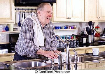 洗浄, 年配, 皿, 人