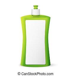 洗浄, 液体, パッケージ, 緑, ブランク, 皿
