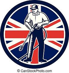 洗浄, 組合, イギリス, 圧力, 旗, ジャッキ, 円, レトロ