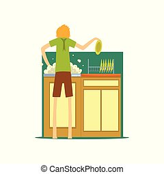 洗涤菜, 家庭, 厨房, 描述, 矢量, 背景, henpecked, househusband, 白色, 人, 卡通漫画, 丈夫