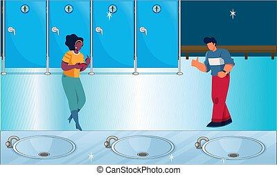 洗涤, 夫妇, 区域, 跳舞