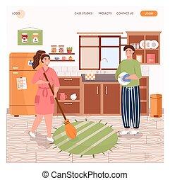 洗涤, 着陆, 房子, 一起。, 清洁, 矢量, 打扫, 页, 网站, 概念, 家庭, illustration., 设计, 站点, 描述, 网, template., 厨房, 盘