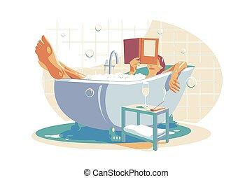 洗澡, 放松, 妇女