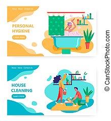 洗澡, 概念, bubbles., house., 或者, 浴缸, 网, 家庭家, 设计, 妇女, 泡沫, 站点, 房间, illustration., 矢量, 拿, template., 清洁, 页, 公寓, 网站, 着陆