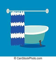 洗澡, 由于, 帘子, 上, a, 藍色, 背景。