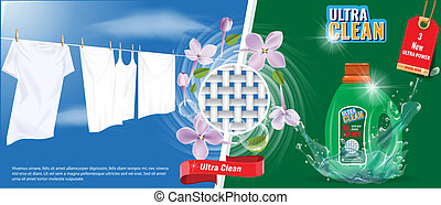 洗濯物, テンプレート, はね返し, 効果, 衣服, 水, 洗浄剤, flowers., ベクトル, 広告, 白, すてきである, illustration.