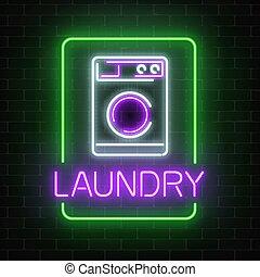 洗濯物, 壁, ネオン, 看板, 暗い, バックグラウンド。, 白熱, れんが