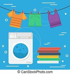洗濯物, 概念, 広場