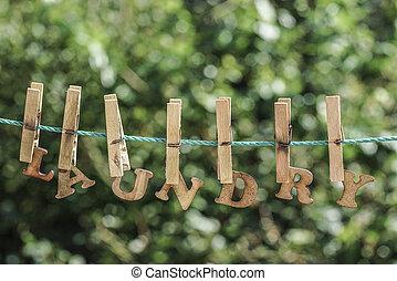 洗衣房, 詞, 寫, 所作, 垂懸, 木制, 信件, 上, 繩子, 在, 花園