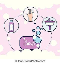 洗面器, 浴室, シャンプー, 石鹸, 手