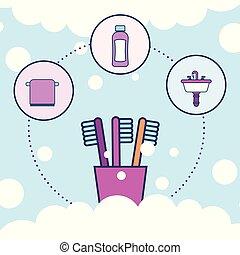 洗面器, 浴室, タオル, 歯ブラシ, シャンプー