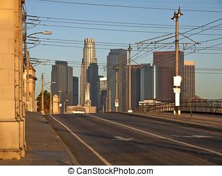 洛杉矶, 在中, 温暖, 日出, 光
