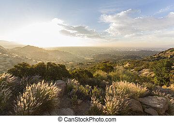 洛杉矶, 日出, 在, santa, susana, 传递, 声明, 具有历史意义, 公园