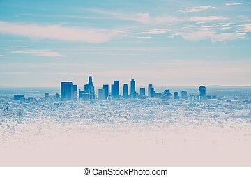 洛杉磯地平線, 由于, 它, skyscrappers, 從, the, 好萊塢, 小山, 加利福尼亞, 美國