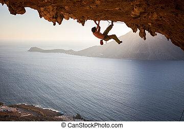洞穴, 屋根, 日没, ロッククライミング, 前方へ, 登山家