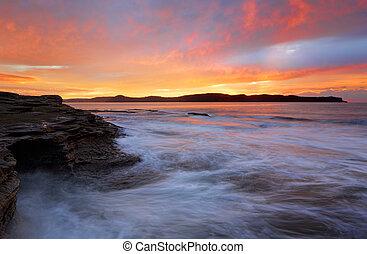 洞穴, 海, 日の出