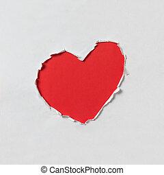 洞, 在 形狀, ......的, a, 心