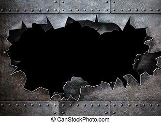 洞, 在, 金屬, 裝甲, 蒸汽, 蓬克, 背景