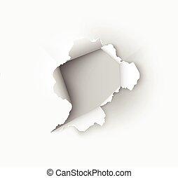 洞, 撕破, 在, 被撕, 紙