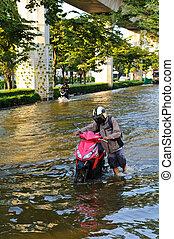 洪水, ひどい, タイ, バンコク