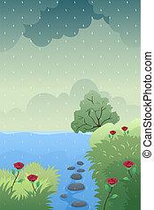 洪水, もたらすこと, 雨, イラスト