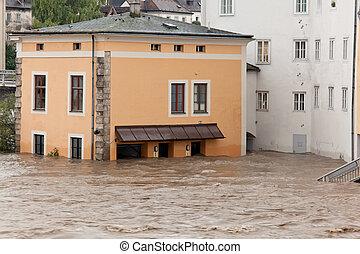 洪水, オーストリア, 氾濫, steyr