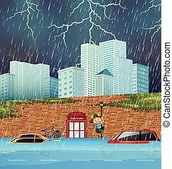 洪水, フラッシュ, 大きい都市