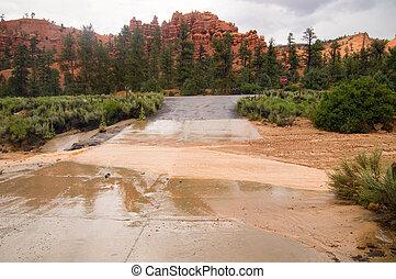 洪水, 峡谷, フラッシュ, ユタ, 赤