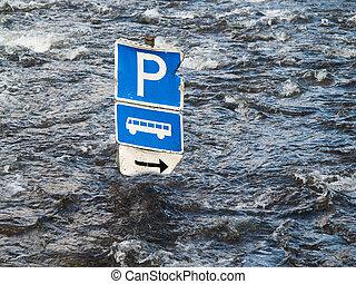 洪水, 川, バス, 駐車