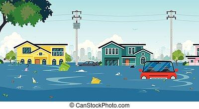 洪水, 町