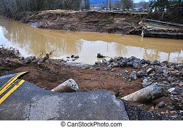 洪水, chehalis, 損害, wa, 西