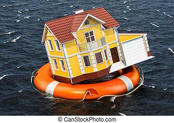 洪水, concept., 中, ライフブイ, water., 家, 水泳, レンダリング, 保険, 3d