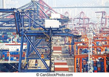 洪, 商業, 港口, 容器, kong